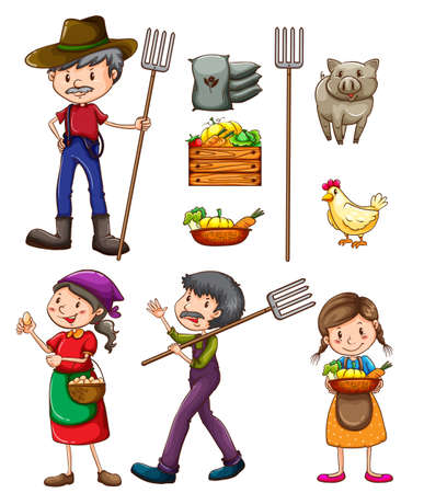 Illustration of many farmers and products Vector