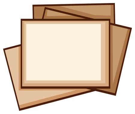 Illustration of a simple coloured sketch of photo frames on a white background Ilustração
