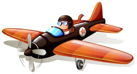 man flying: Illustration of a pilot flying an airplane