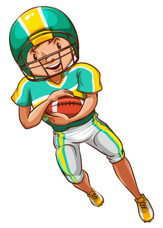 contingent: Illustration of an American football player on a white background Illustration