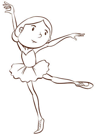 flexible girl: Illustration of a plain drawing of a ballerina on a white background