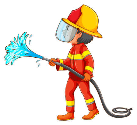 brandweer cartoon: Illustratie van een brandweerman met water slang Stock Illustratie