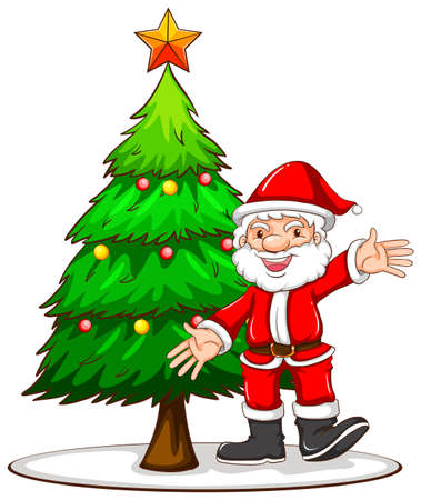 Illustration of a sketch of a Christmas tree with Santa Claus on a white background Vector