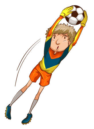 contestant: Illustration of a coloured drawing of a male soccer player on a white background