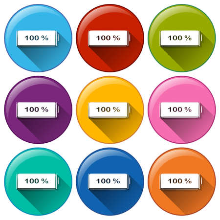 copper magnet: Illustration of the round icons with fully charged batteries on a white background Illustration