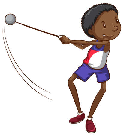 Illustration of a simple sketch of a brown boy playing on a white background Illustration