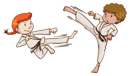 karate practice: Illustration of the young martial arts experts on a white background