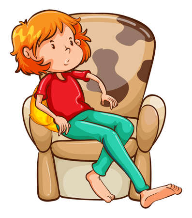 Illustration of a tired girl at the chair on a white background