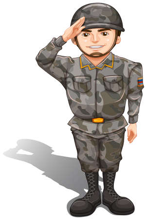 Illustration of a brave soldier showing a hand respect on a white background Vector