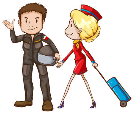 Illustration of a simple sketch of a pilot and a stewardess on a white background Vector