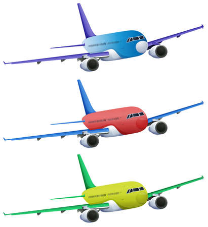 cruising: Illustration of the colourful planes on a white background