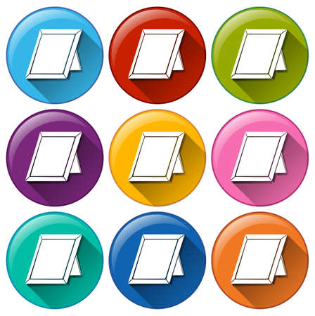 convey: Illustration of the round icons with picture frames on a white background