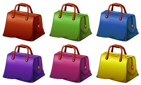 Illustration of the colourful handbags on a white background Vector