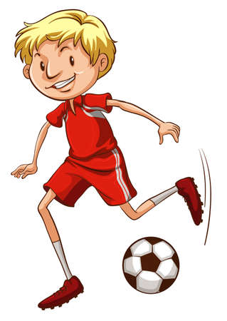 contestant: Illustration of an energetic soccer player on a white background