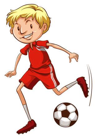 예행 연습: Illustration of an energetic soccer player on a white background