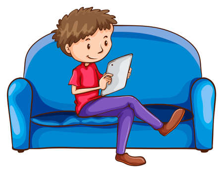 Illustration of a boy sitting at the sofa with a gadget on a white background Illustration