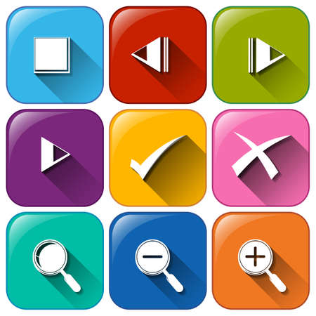 Illustration of the different buttons on a white background Vector