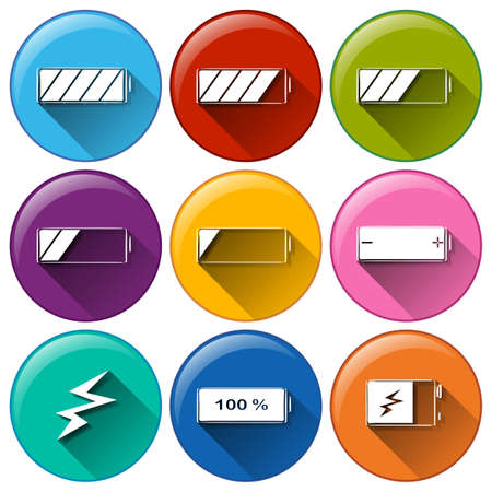 copper magnet: Illustration of the round icons with batteries charging on a white background