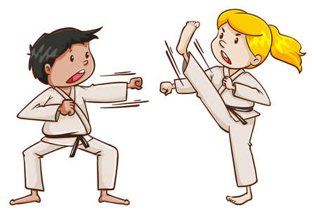 contingent: Illustration of the kids doing martial arts on a white background Illustration