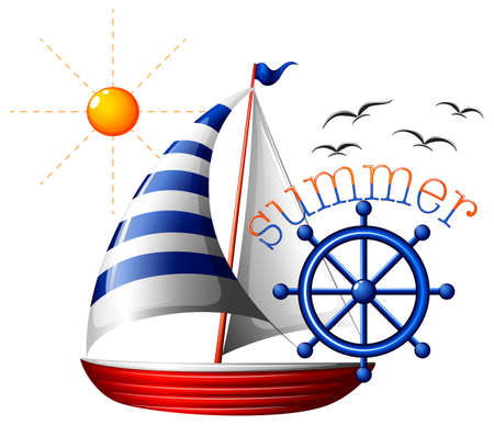 fueled: Illustration of a summer template with a boat on a white background