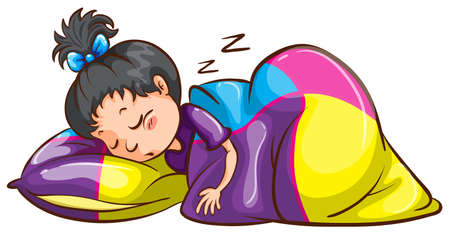 Illustration of a little girl sleeping soundly on a white background