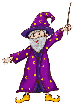 untrue: Illustration of a witch with a wand on a white background