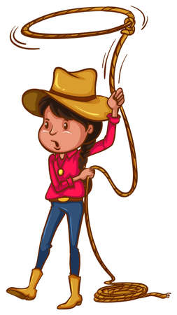 tied girl: Illustration of a coloured drawing of a cowgirl on a white background Illustration