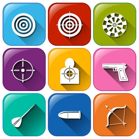 Illustration of the buttons with the different sports that requires target on a white background Illustration