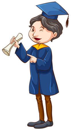 special education: Ilustraci�n de un postgrado sobre un fondo blanco