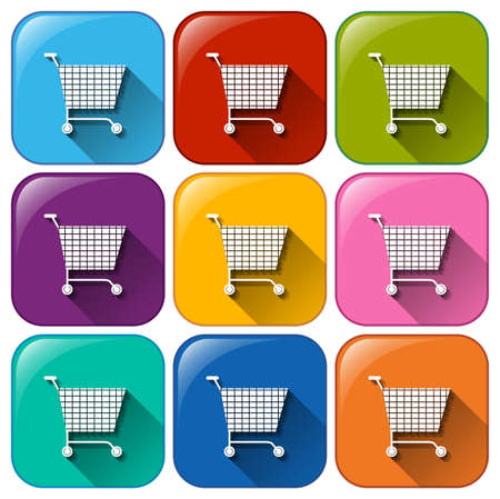 pushcart: Illustration of the round icons with grocery carts on a white background