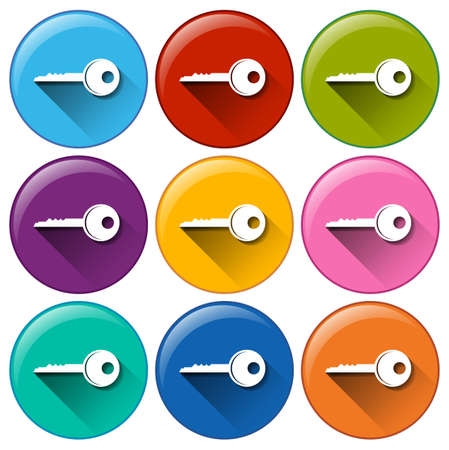 Illustration of the buttons with keys on a white background Vector