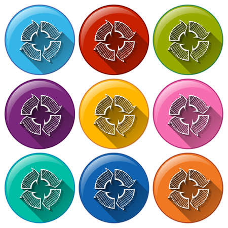 Illustration of the buttons with recycle arrows on a white background Vector