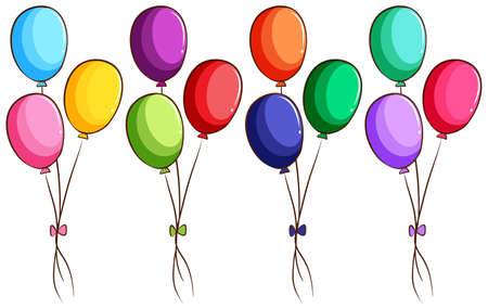 colored balloons: Illustration of a simple coloured sketch of the balloons on a white background