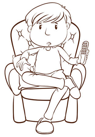 Illustration of a plain sketch of a lazy man holding a remote control on a white background