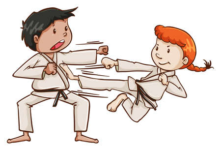 karate practice: Illustration of a male and a female doing martial arts on a white background