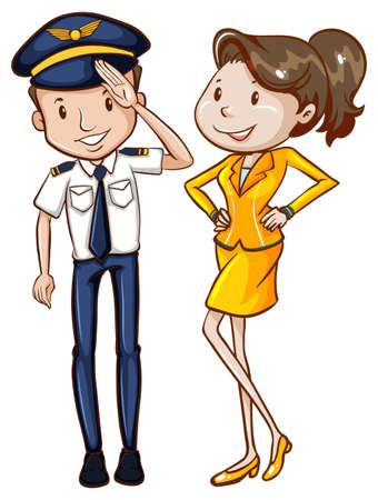 an attendant: Illustration of a simple coloured sketch of a pilot and a hostess on a white background