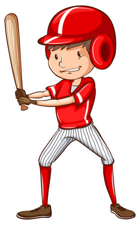 contingent: Illustration of a sketch of a baseball player holding a bat on a white background