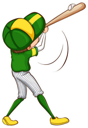 contestant: Illustration of a sketch of a baseball player in green uniform on a white background