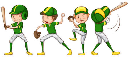 Illustration of a coloured sketch of the baseball players in green uniform on a white background Vector