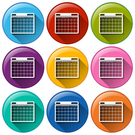 calender: Illustration of the round icons with phone calendar on a white background