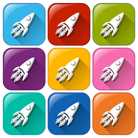 Illustration of the icons with rockets on a white background Vector
