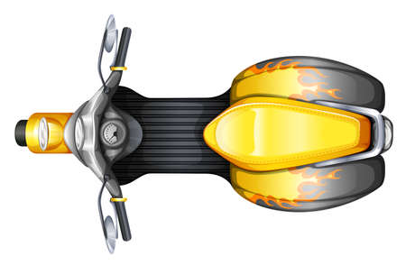 motorised: Illustration of a topview of a scooter on a white background