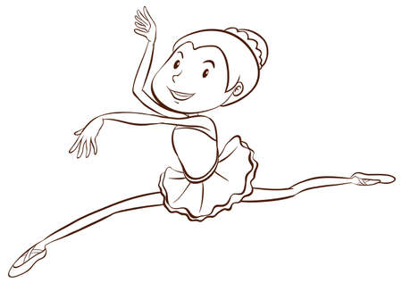 Illustration of a plain sketch of a ballet dancer on a white background Vector