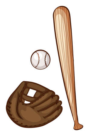 bounces: Illustration of a simple sketch of the baseball materials on a white background Illustration