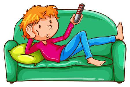 ergonomie: Illustration eines farbigen Skizze eines faulen Jungen auf einem wei�en Hintergrund