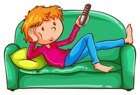 Illustration of a coloured sketch of a lazy boy on a white background Ilustrace