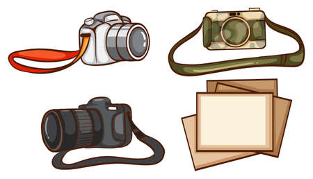 Illustration of the simple sketches of the cameras of a photographer on a white background Illustration