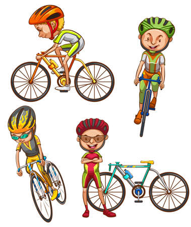 Illustration of a coloured sketch of the cyclists on a white background Vector