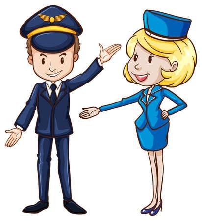 비행: 흰색 배경에 파일럿의 간단한 드로잉과 스튜어디스의 그림