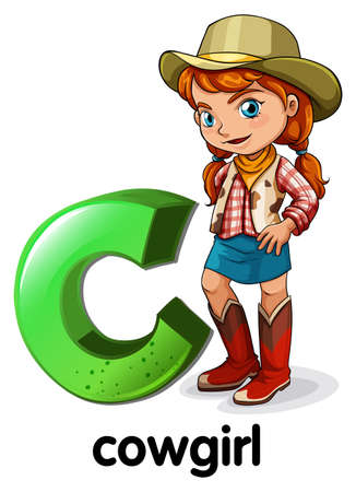 Illustration of a letter C for cowgirl on a white background